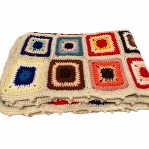 Hand Knit Classic Granny Square Blanket